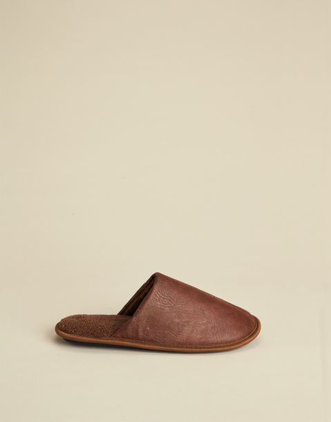 MEN'S FAUX LEATHER SLIPPERS