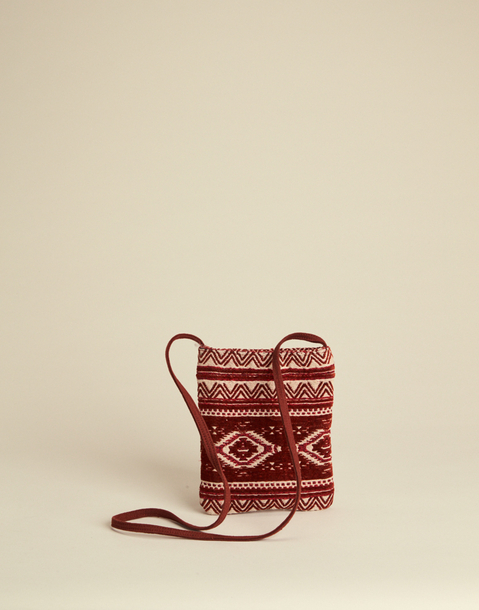 ETHNIC CROSSED JACQUARD BAG WITH ZIPPER