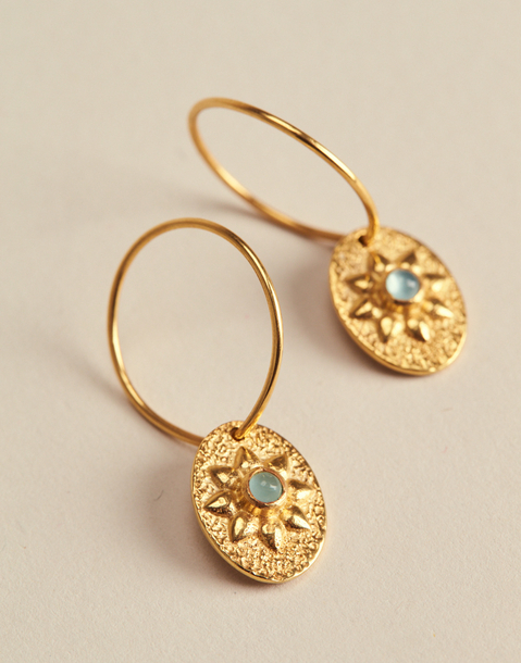 GOLDEN FLOWER MEDAL EARRINGS