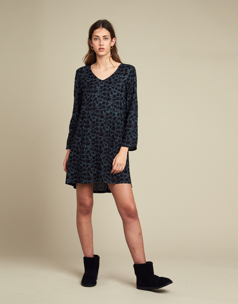Long sleeve flowered short dress