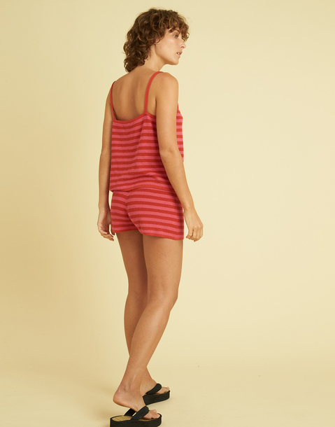 STRIPED KNITTED SHORT