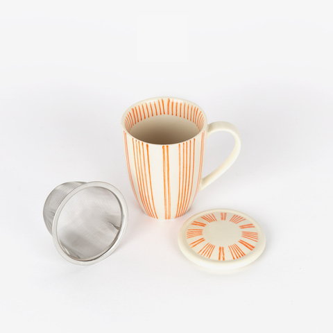 STRIPED TEA MUG WITH FILTER