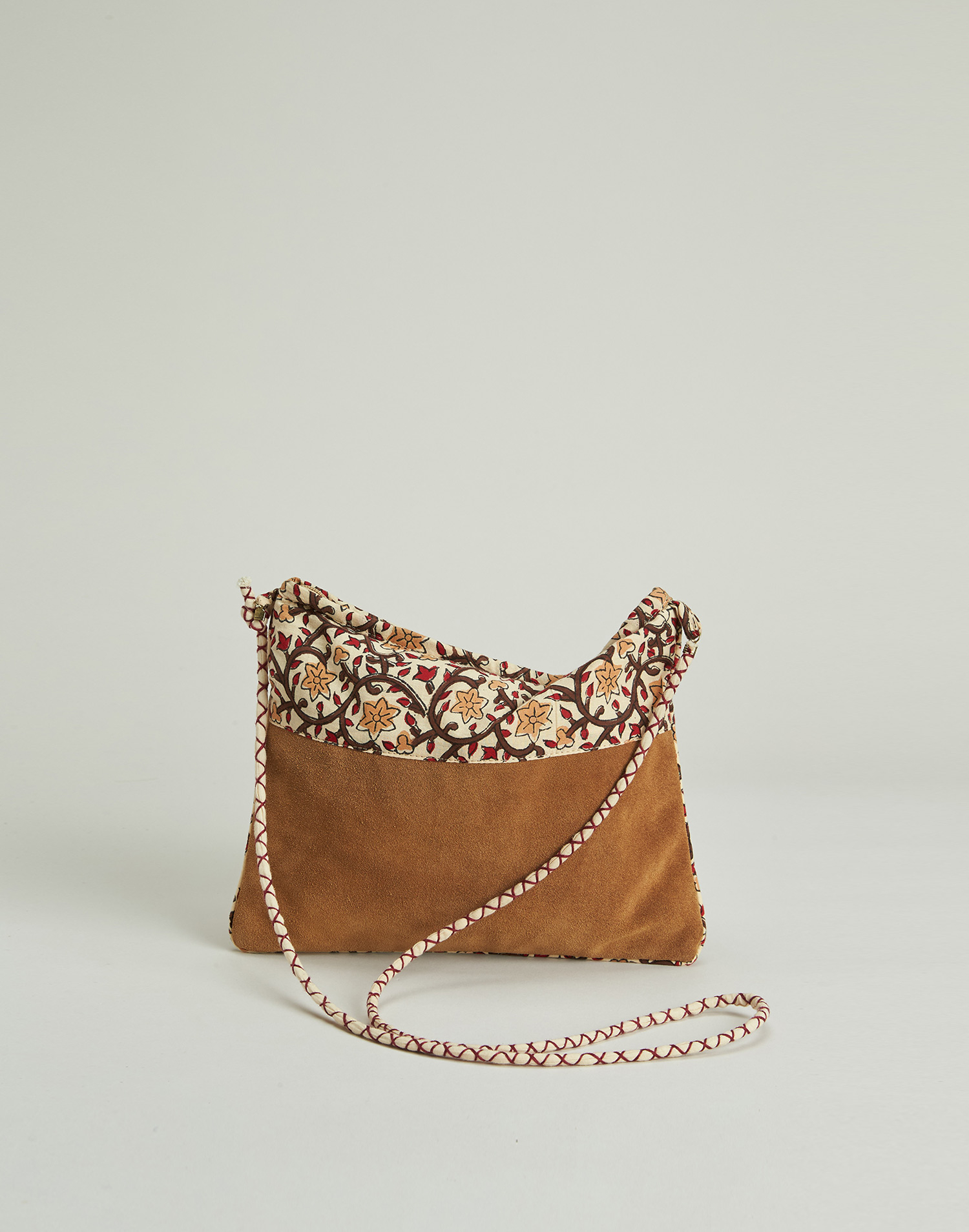 Leather and print combined bag