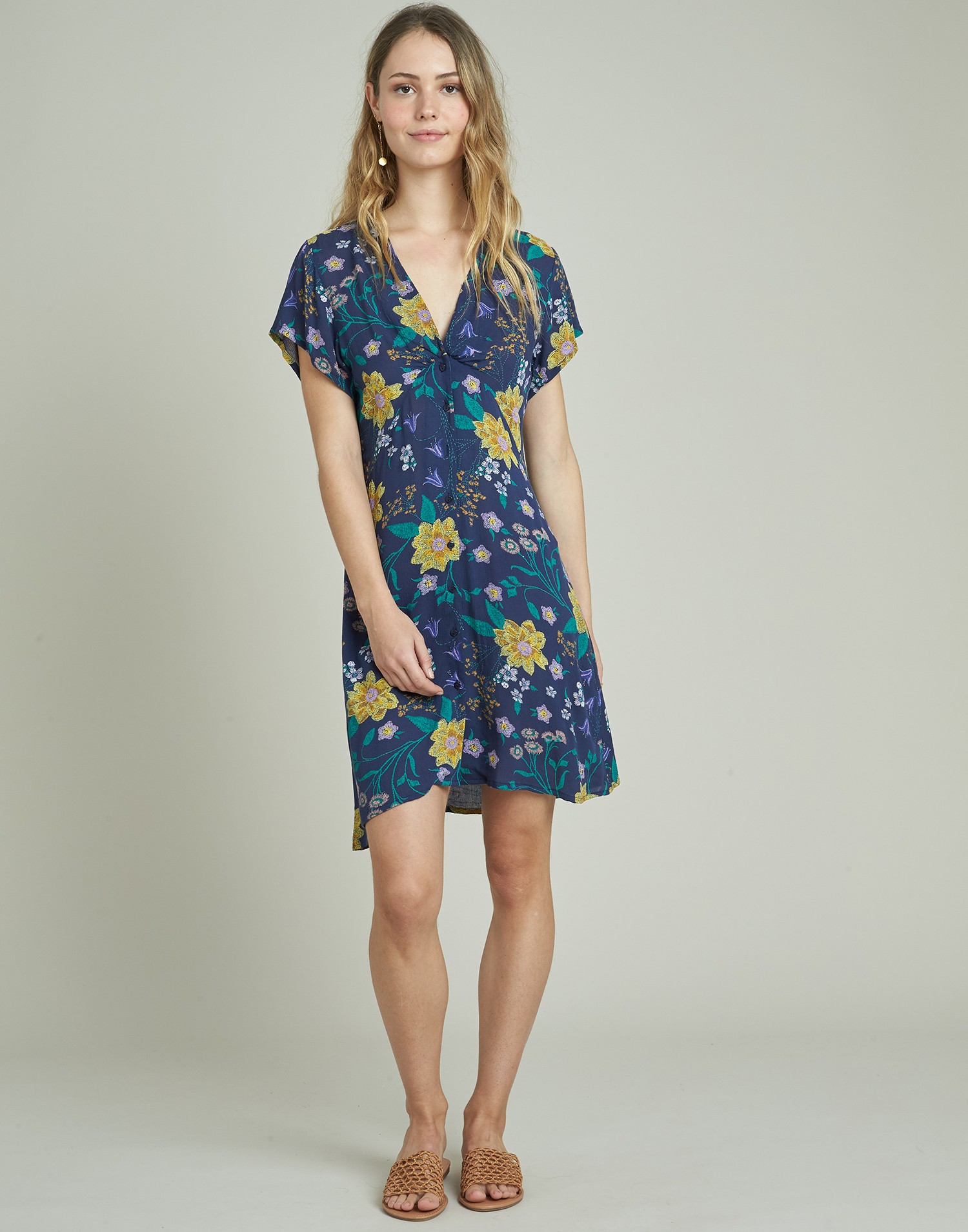 Flowered short printed dress