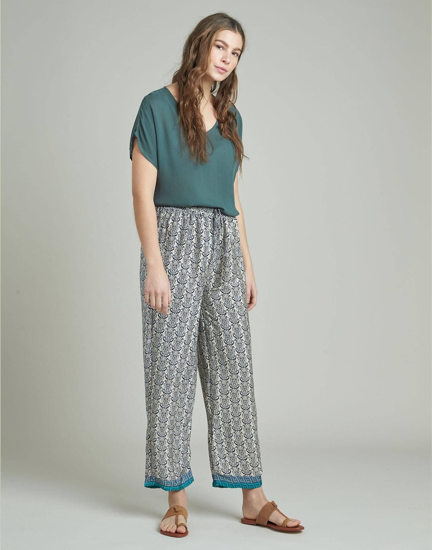 Long print drawstring pants