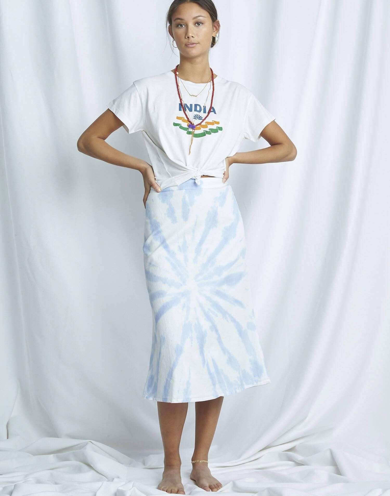 Organic tie-dye midi skirt
