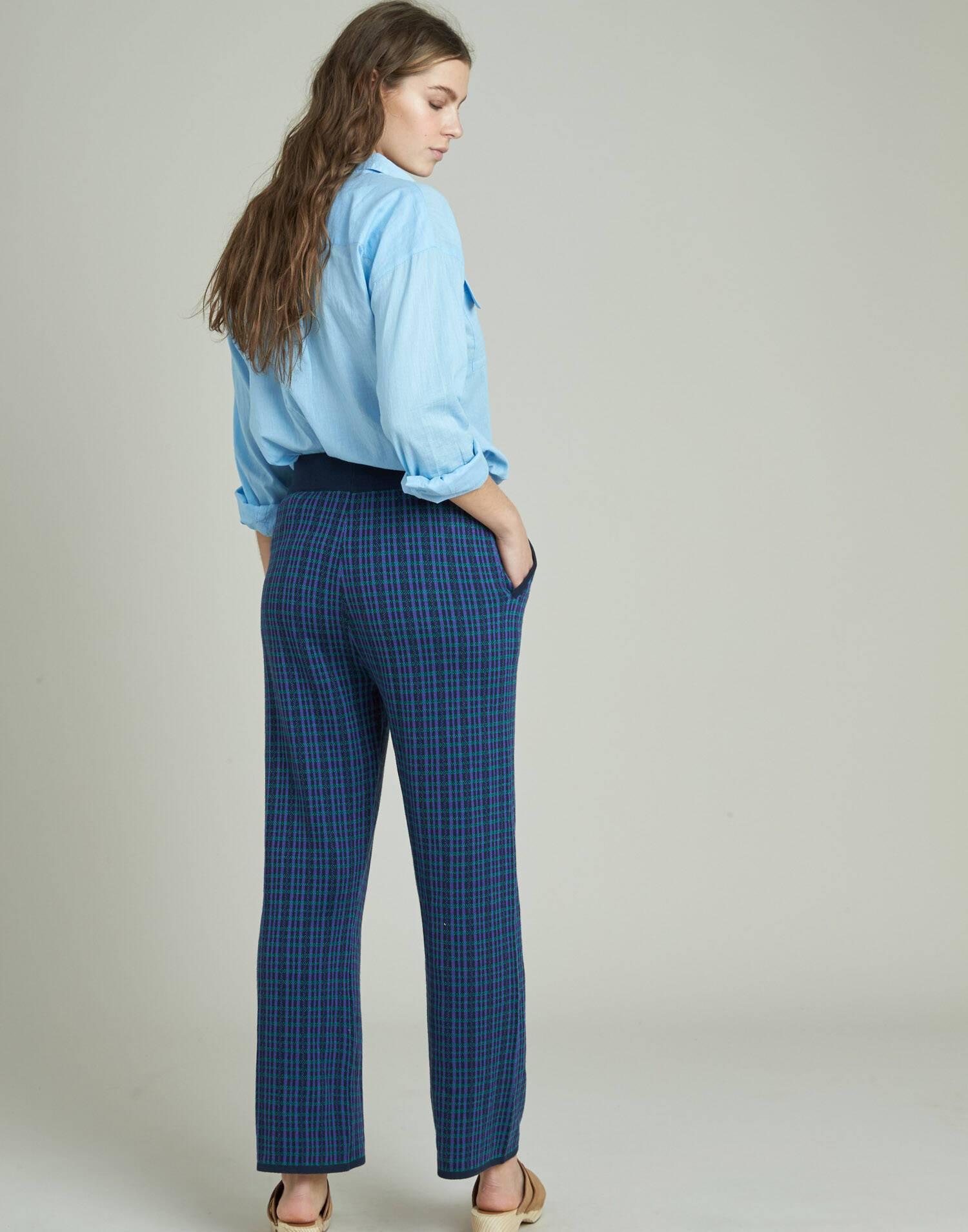Pantalon tricot cuadros