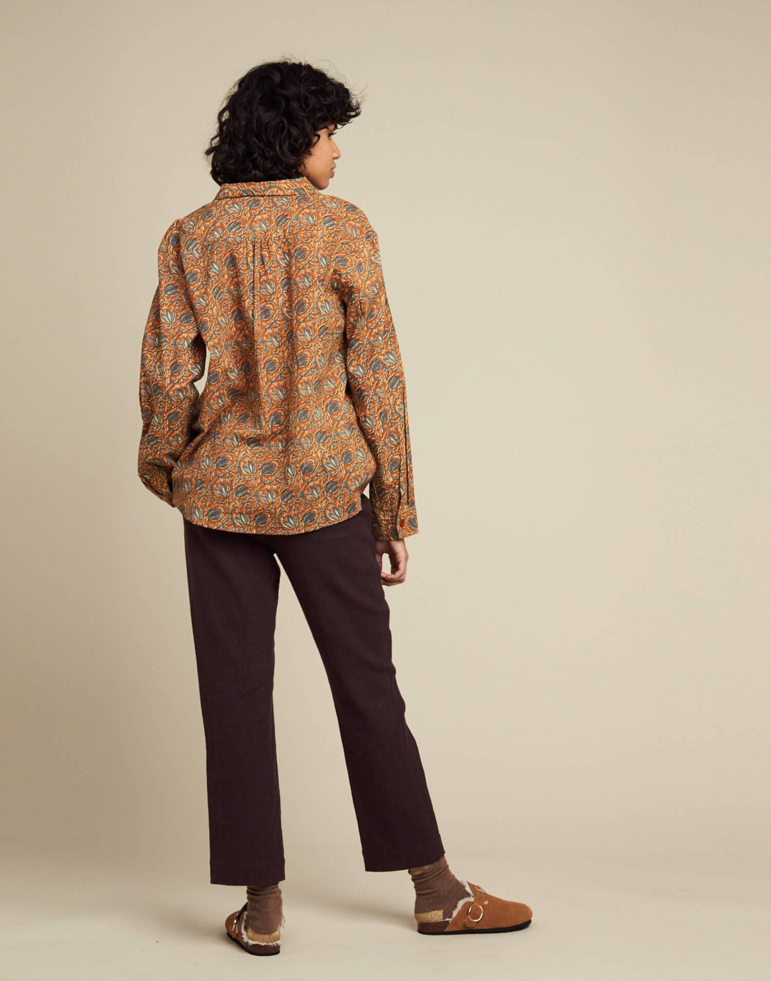 Indi print button blouse