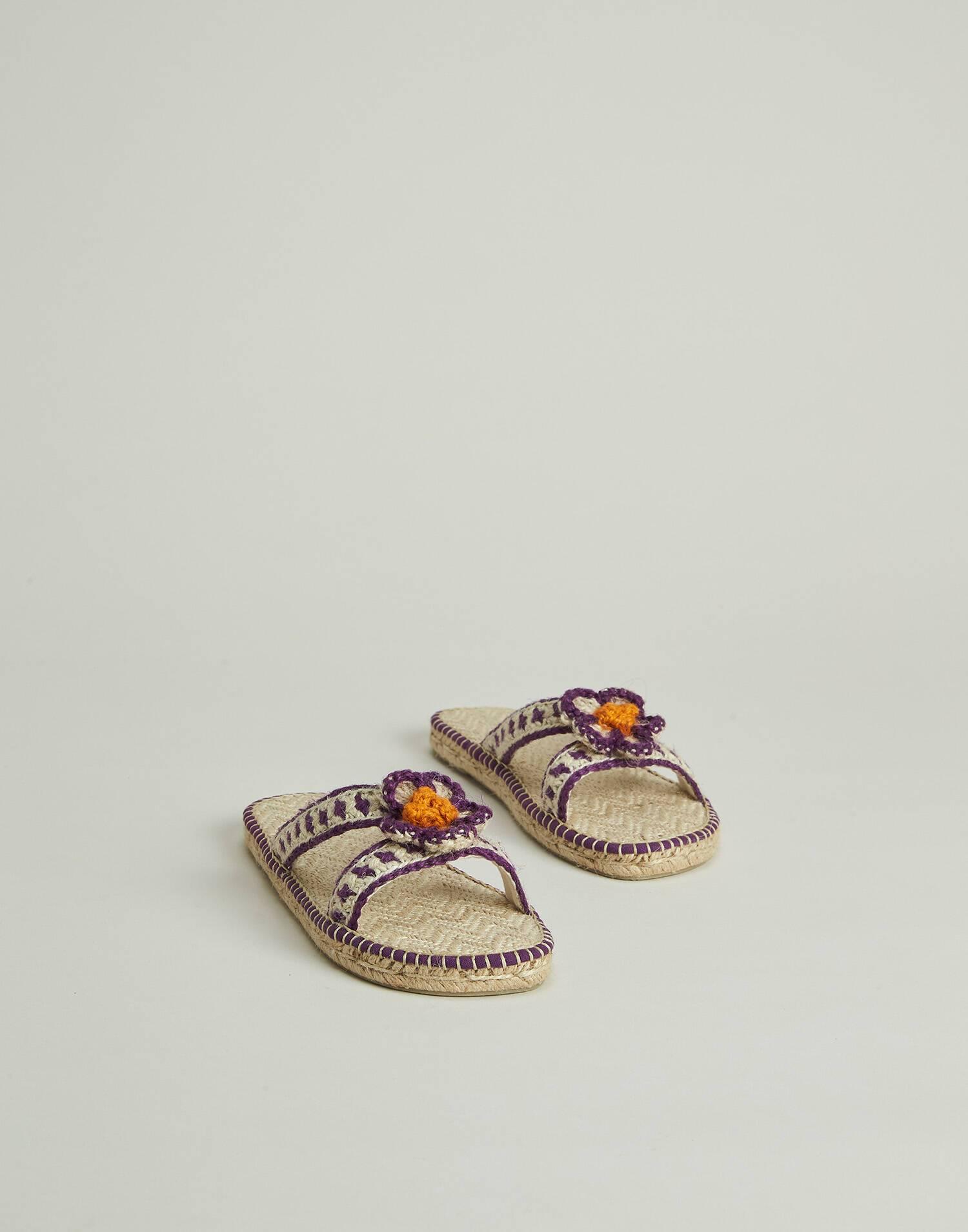 Sandalia cáñamo margarita crochet