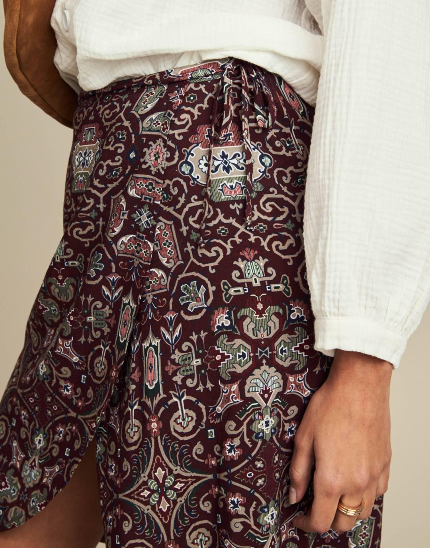 Slit mosaic printed skirt