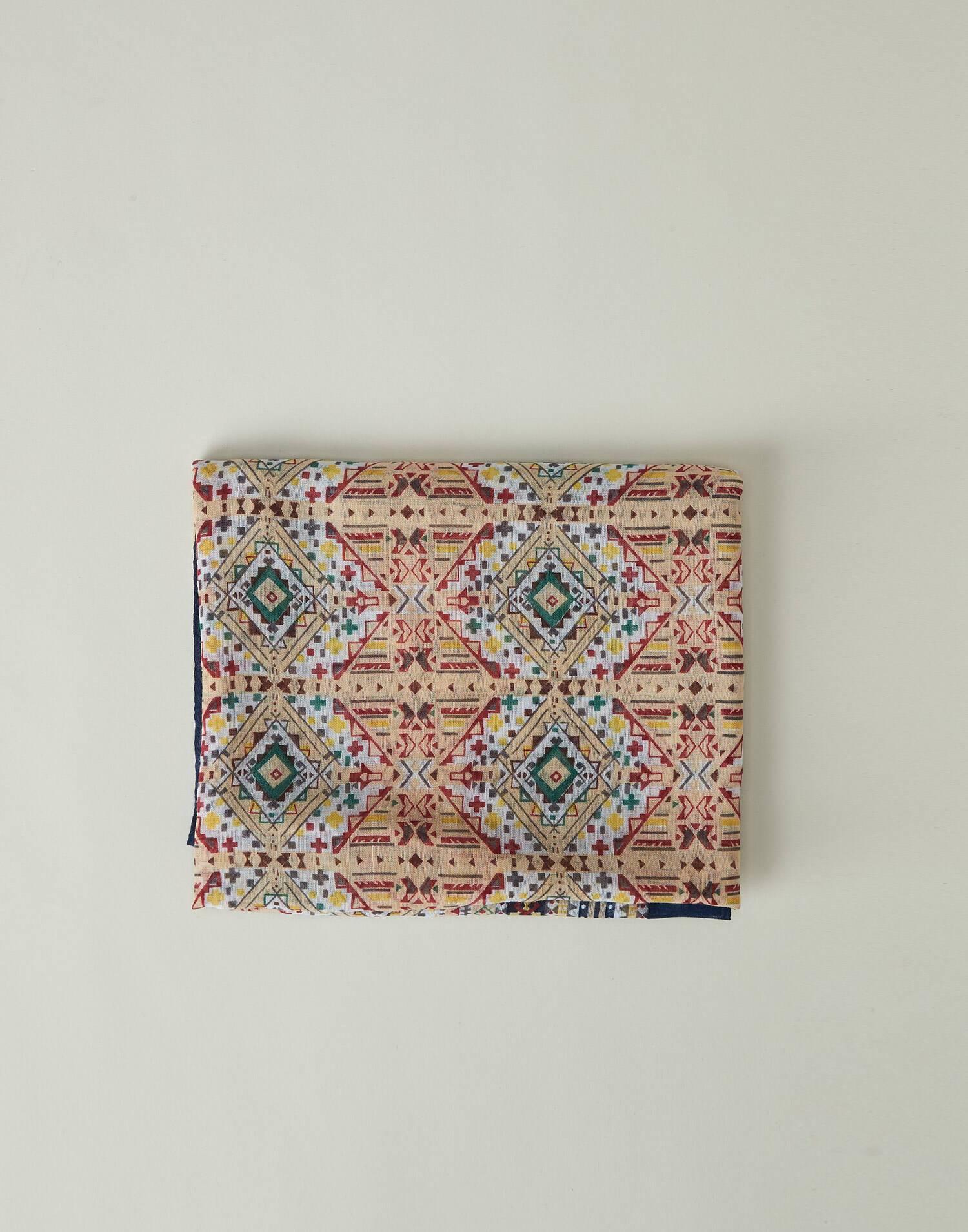 Ethnical geometry printed foulard