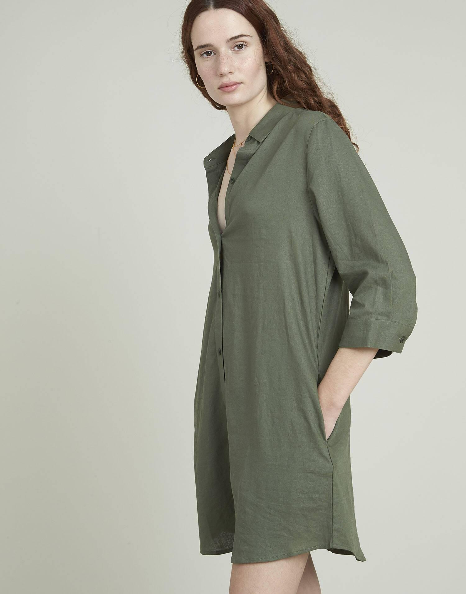 Vestido camisero lino