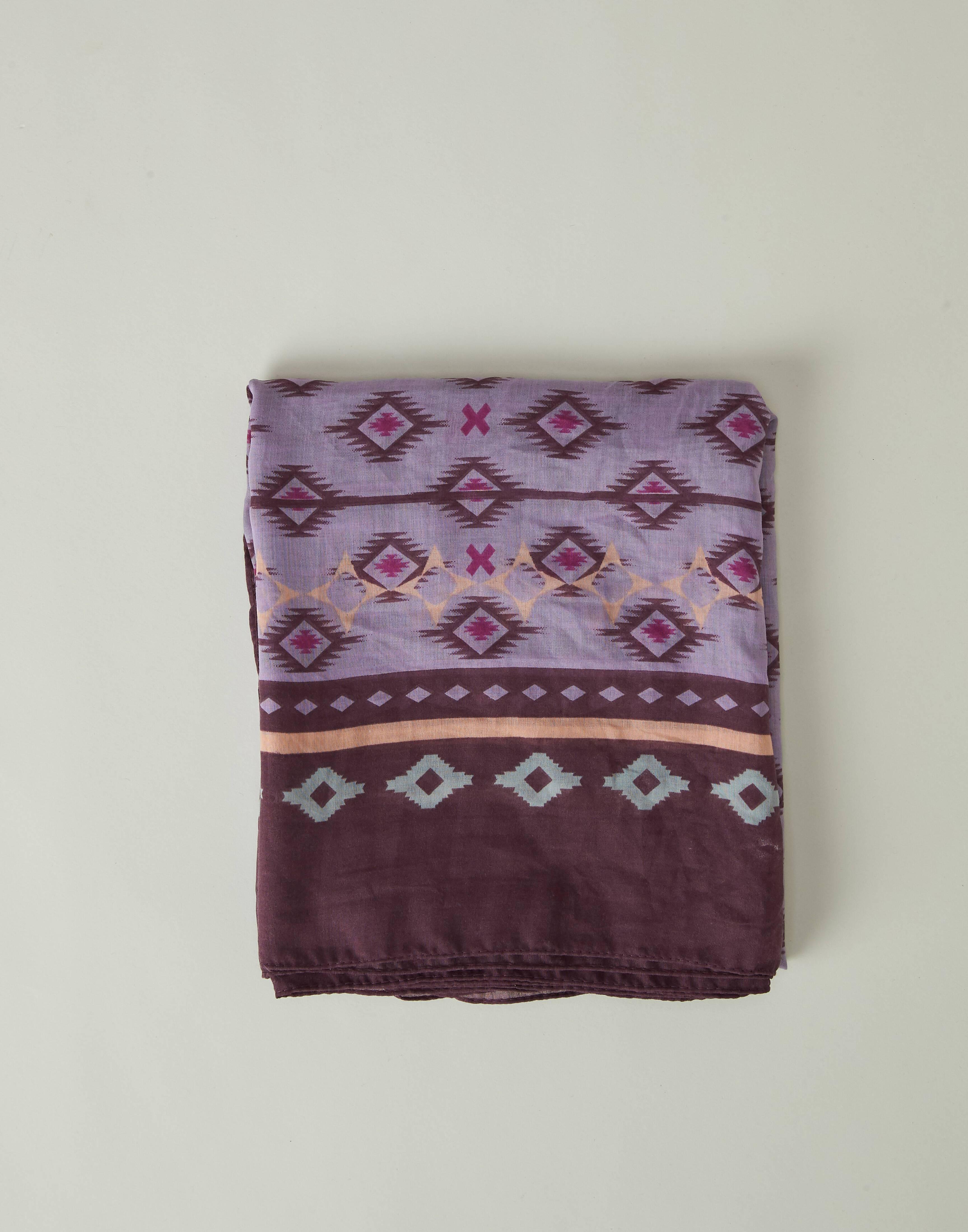 Aztec rhombuses printed foulard