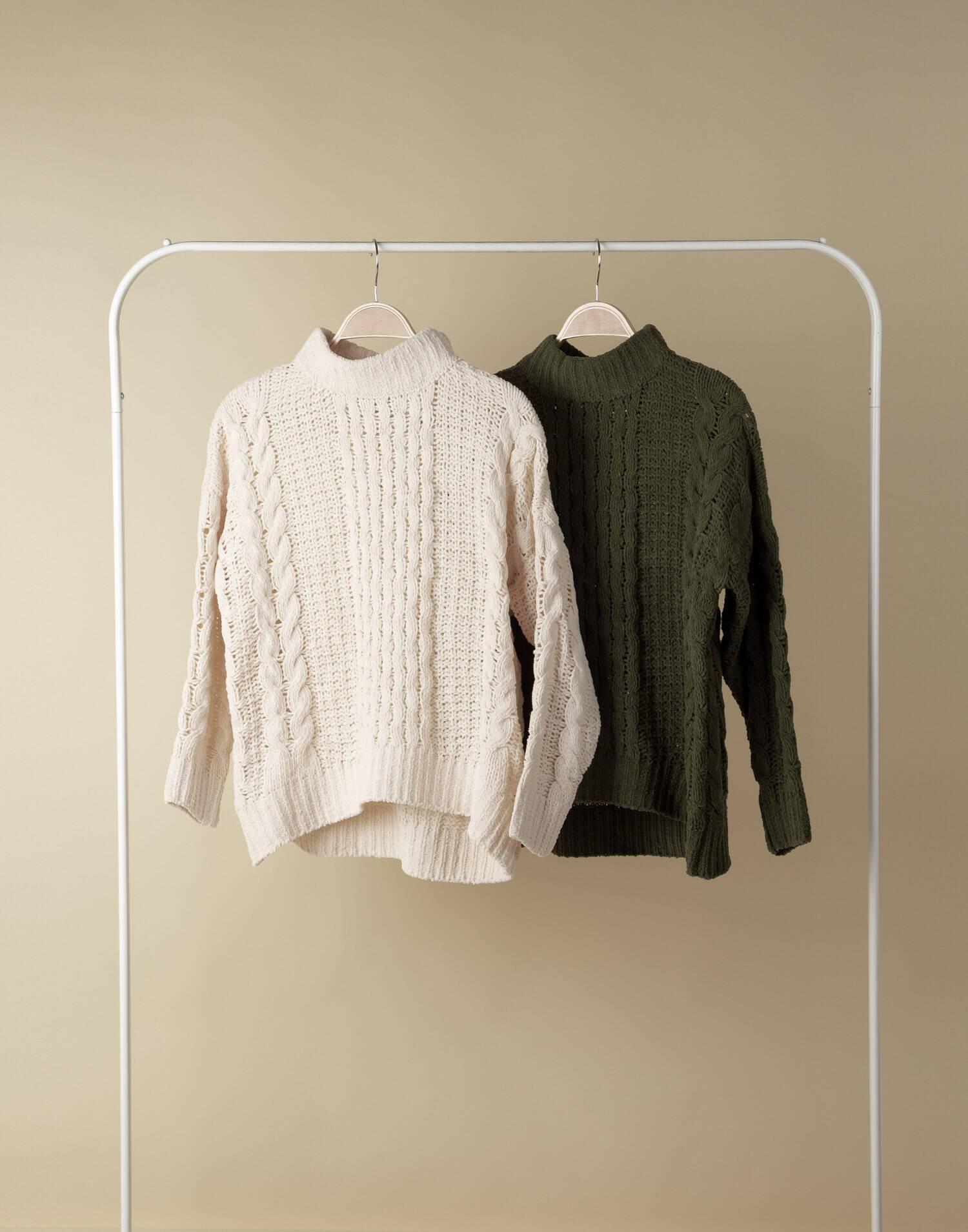 Braided chenille sweater