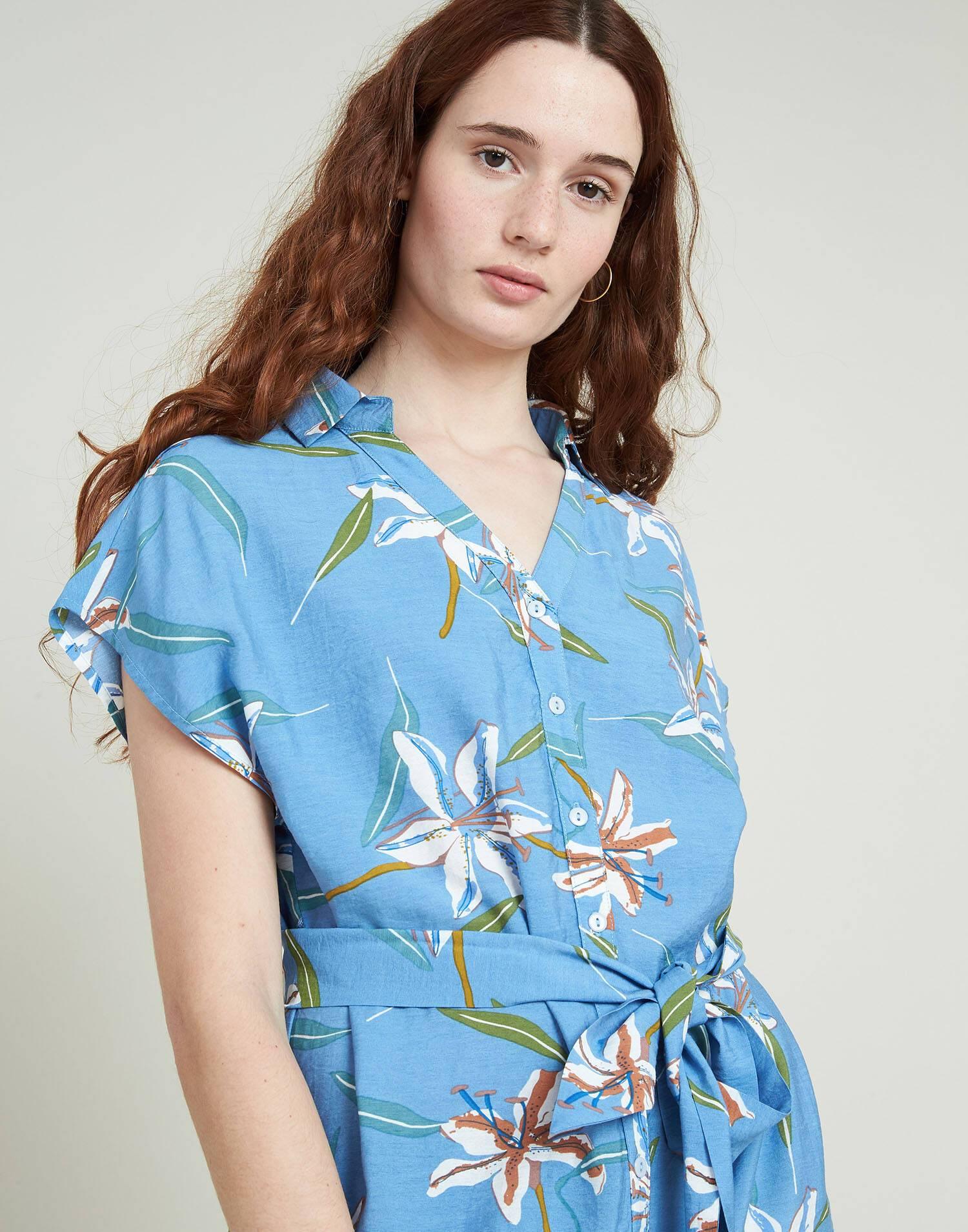 Flowered shirt dress
