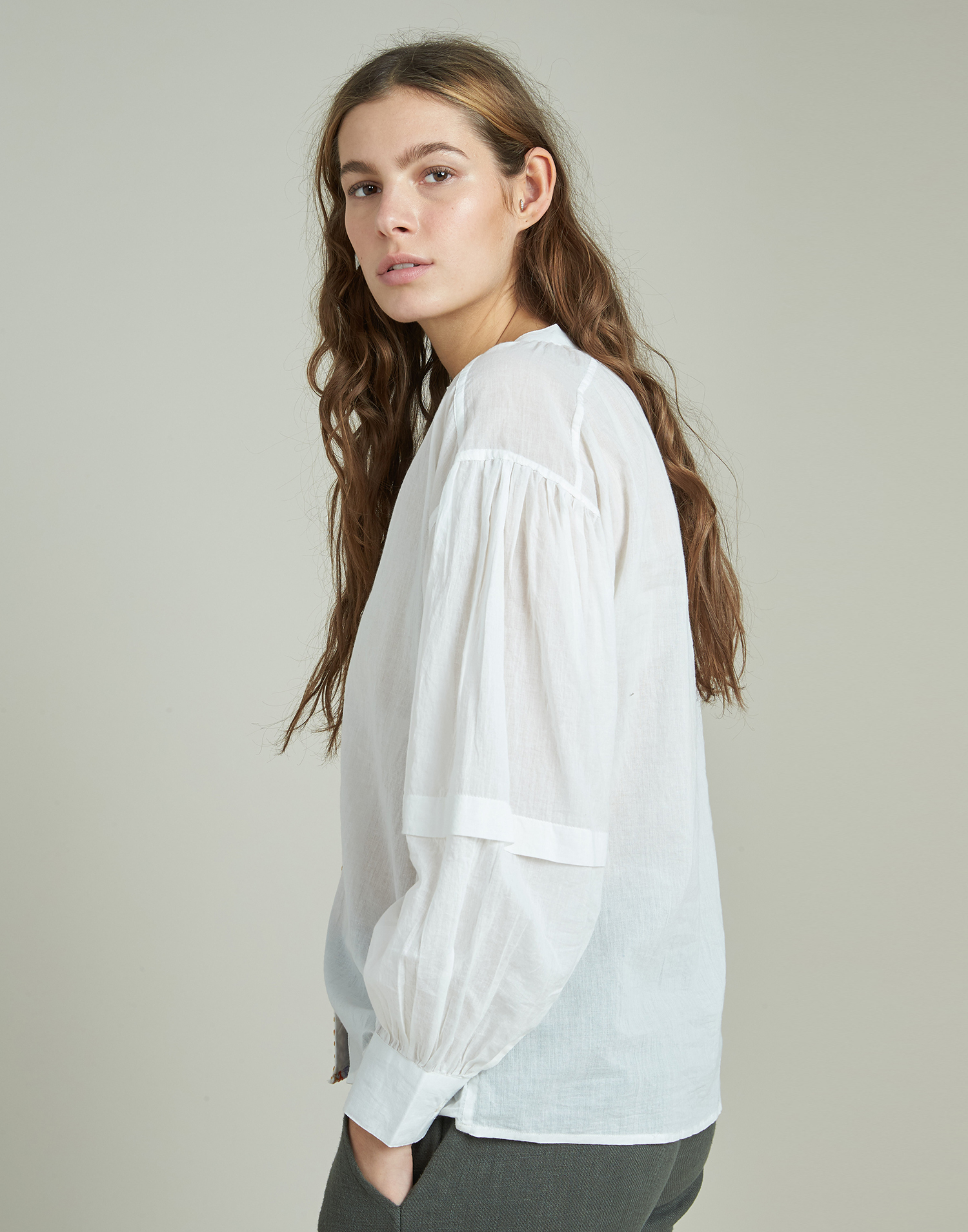 Long sleeve shirt with embroidered placket