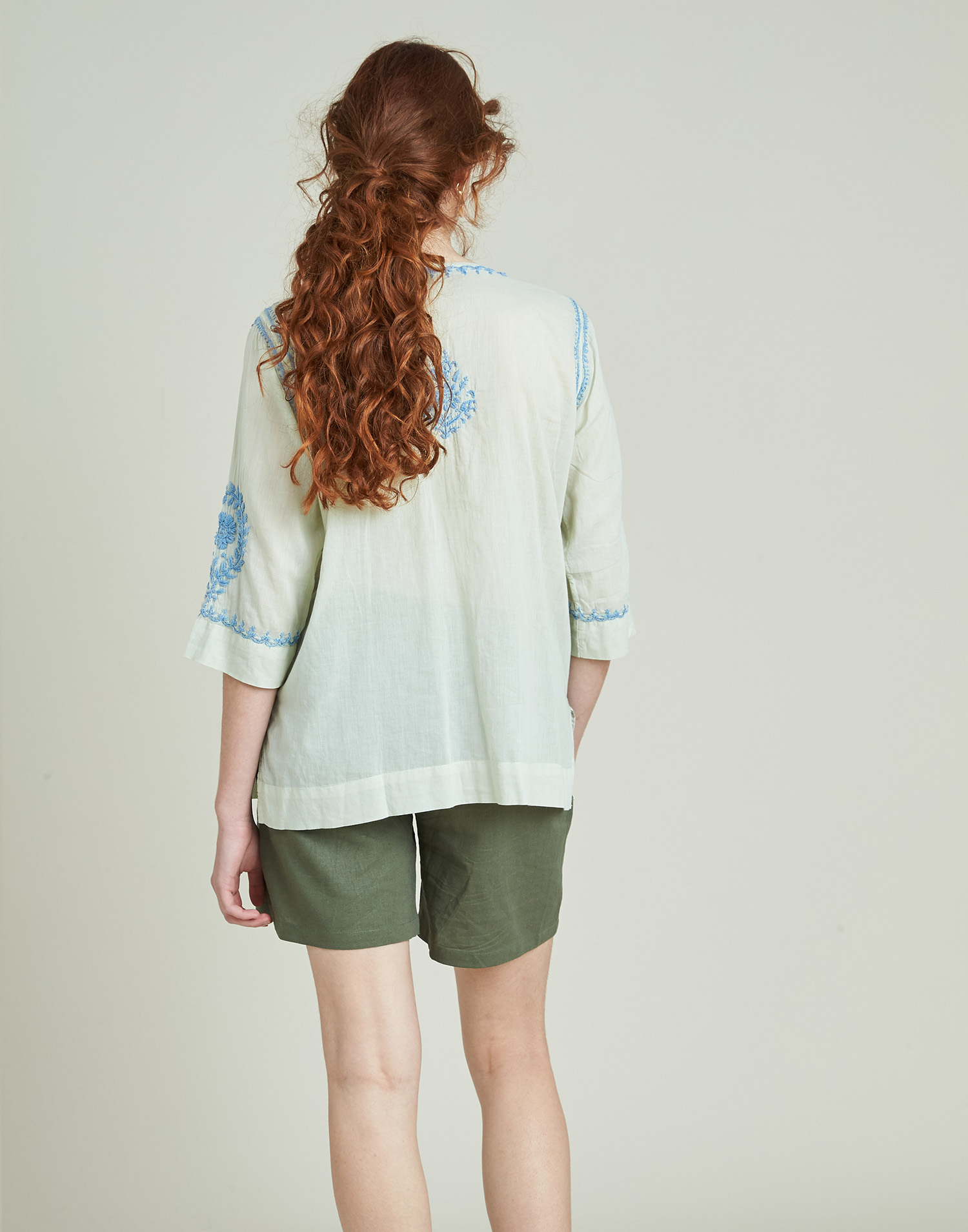 Oriental style embroidered shirt
