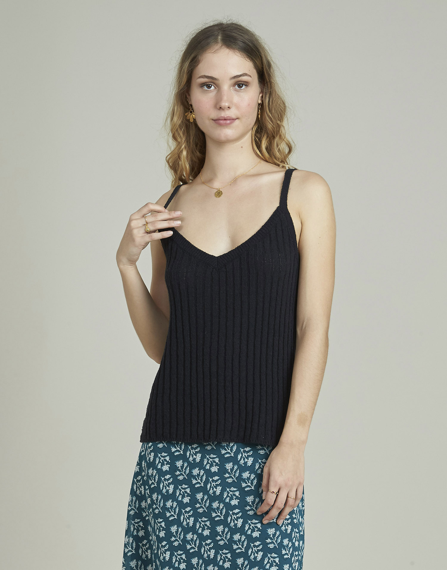 Top tricot canalé