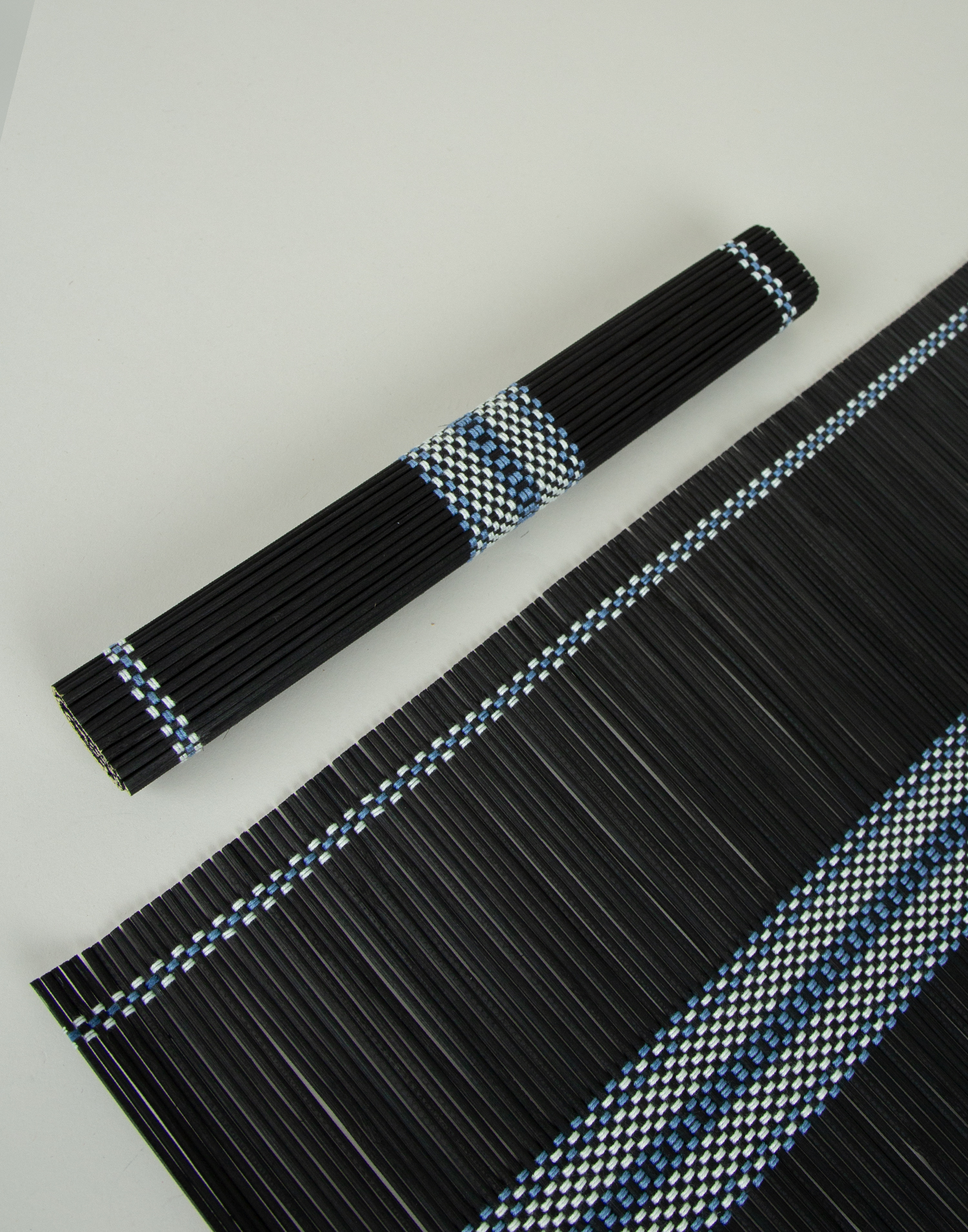 2-set bamboo black placemats with trim