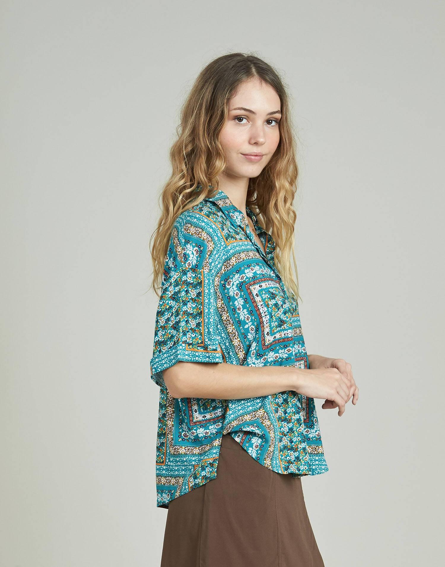 Camisa print patchwork