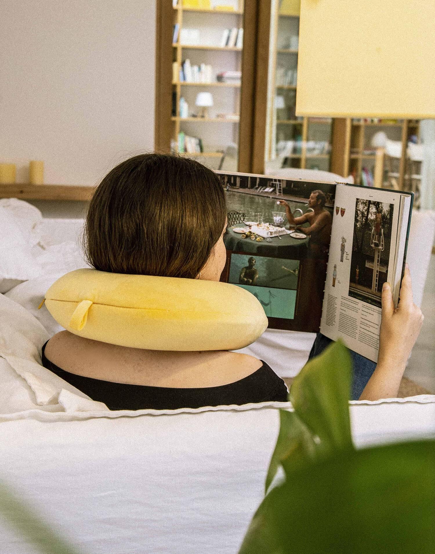 Velvet travel pillow