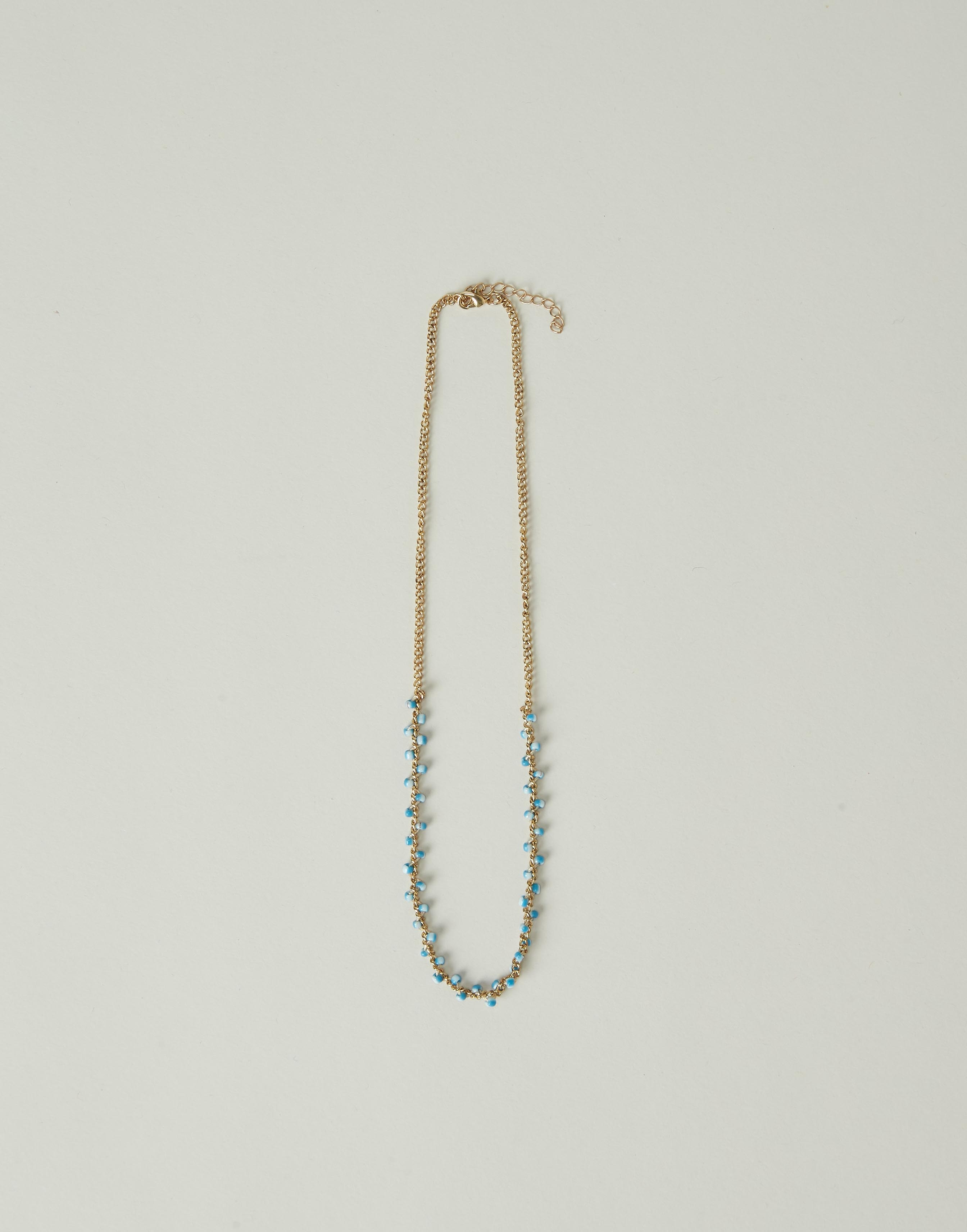 Chain necklace with bicolor beads