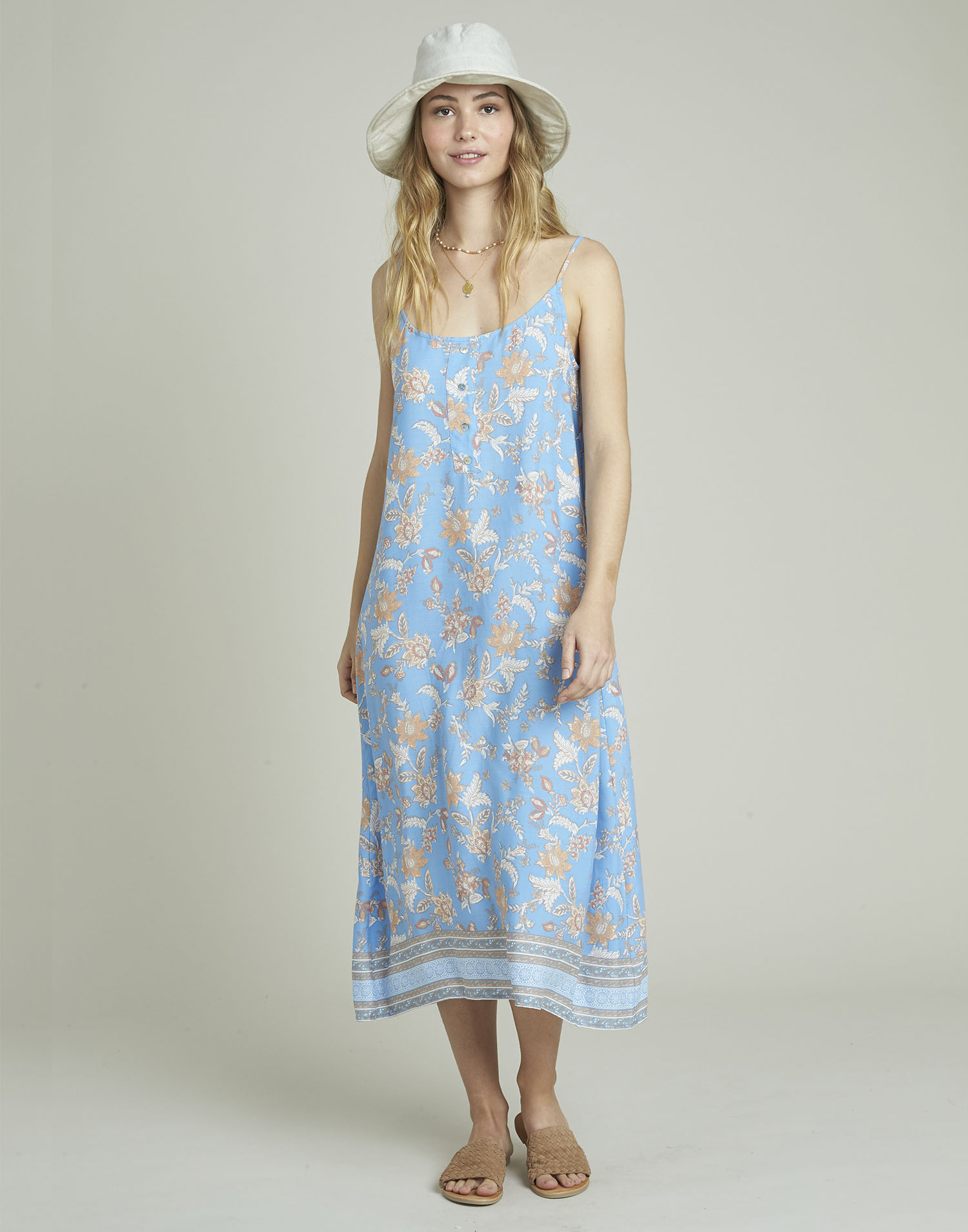 Floral print long strappy dress